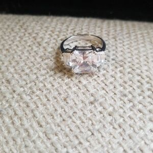 Sterling silver ring with large crystal design
